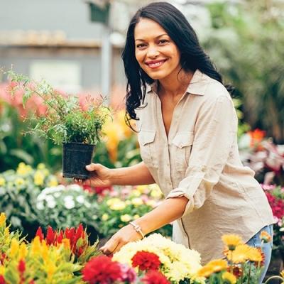 Healthy woman gardening