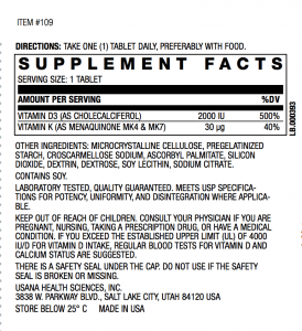 Vitamin D USANA Supplement Facts
