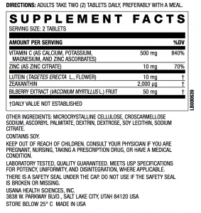Visionex Supplement Facts