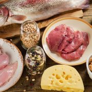 Food high in protein on a wooden background. Healthy diet eating