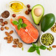 Food sources of omega 3 and healthy fats, top view.